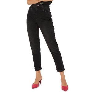 Topshop Moto Washed-Black Mom Jeans